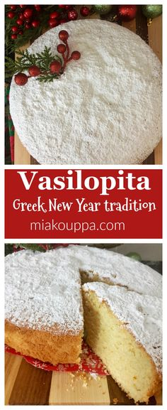 An easy and delicious recipe, for the traditional Greek cake served for New Years! An easy and delicious recipe, for the traditional Greek cake served for New Years! Greek Sweets, Greek Desserts, Baking Desserts, Vasilopita Cake, Greek Cake, New Year's Cake, Greek Cooking, Greek Dishes, French Tips