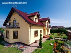 Photo about Exterior of modern house with landscaped gardens; Image of architectural, detached, cottage - 20448733
