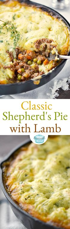 Classic Shepherd's Pie with Lamb and fluffy mashed potatoes is comfort food at it's finest! This isn't just food to serve for St. Patrick's Day, this is a soul soothing meal the whole family will love.