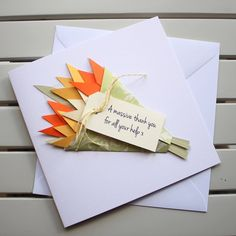 Handmade Personalised Card – Thank You - Get Well - Birthday - with Orange and Yellow Tulip Bouquet by PaperSoupCards on Etsy