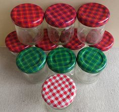 Lot of 11 Mini Jelly Jars With Lids Plaid Print by MDHcrafts