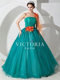 Ball Gown Floor Length Organza One Shoulder With Straps Prom Dress - US$ 147.99 - Style P0495 - Victoria Prom