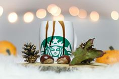 Starbucks with hot chocolate in cozy autumn