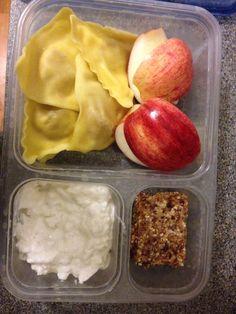 Lunch.  Sliced apple.  Cottage cheese.  Sweet potato ravioli.  Homemade cashew date bar.