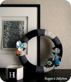 Halloween Inspired Wreath - I love it when non-traditional colors (like blue) are used!