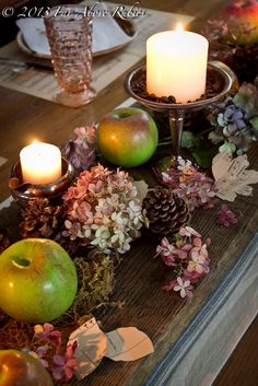 DIY-Autumn Apples TableScape !(of course different stuff, but I like the candle idea)