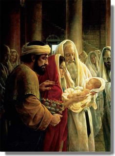 Greg Olsen: Joseph, Mary & Baby Jesus with Simeon in the temple