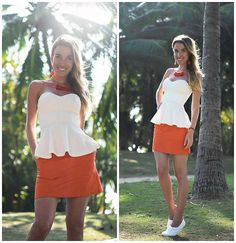 Get this look: http://lb.nu/look/8622497  More looks by Jane D: http://lb.nu/moscowfashionblog  Items in this look:  H&M Top, Topshop Skirt   #casual #minimal #street #white #orange