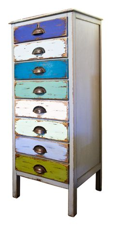 Grey/Blue/Green Filing Tallboy : The Old Cinema – Antique Furniture, Vintage, Industrial, Danish, French