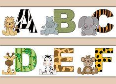 SAFARI ANIMAL ALPHABET Wallpaper Border Decal Nursery Wall Stickers Boy Abc Letter Art Decor Childrens Zoo Jungle Print Teacher Decorations #decampstudios