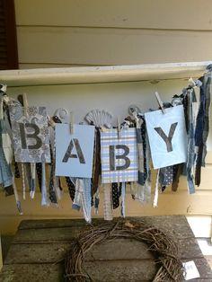 Fabric garland baby shower banner rag garland