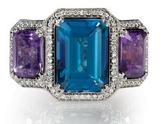 blue topaz, amethyst, and diamond halo cocktail ring. Find it at Hayman Jewelry Co.