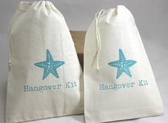 20 Beach Starfish / Hangover Kit - Organic Cotton Drawstring Bags - Great for Bachelorette or Bachelor Parties 5x7