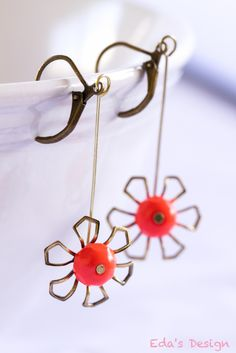 Orange Coral Antique Brass Earrings: Super delicate - Now $15!! Plus FREE shipping! at Bonanza.com :)