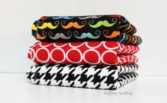 BagEnvy Handbags'  Burp Cloths   Set Of 3  Mustaches  by BagEnvy