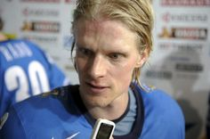 Finland's Jani Tuppurainen talks to journalists after the Group H game Kazakhstan vs Finland in the 2012 IIHF Ice Hockey World Championships in Helsinki, Finland, on May 14, 2012. Finland won the match 4-1.