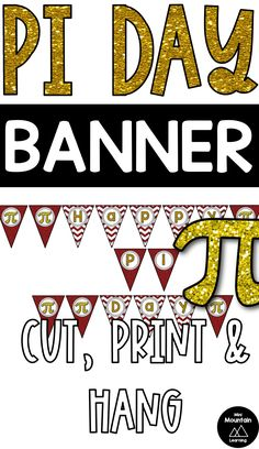 Hang this pi day banner for pi day. Classroom Activities, Activities For Kids, Happy Pi Day, Classroom Walls, Print And Cut, Elementary Schools, Letters, Math, Learning