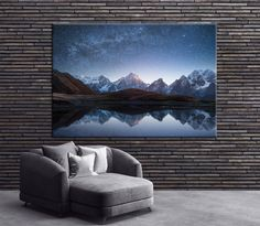 Night landscape with a mountain lake and a starry sky Photoprint Multi Panel Canvas Print Wild Nature  Extra Large Print Ready to Hang by CanvasPrintStudio on Etsy