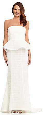Adrianna Papell Strapless Shutter Peplum Gown