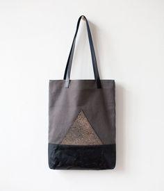 Xmas SALE Dark Metallic Mountain Tote bag No.Tw 3014 by CORIUMI