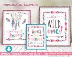 Wild One First Birthday Party Signs Decorations