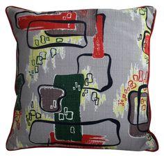 Vintage 1950s Atomic Barkcloth Pillow