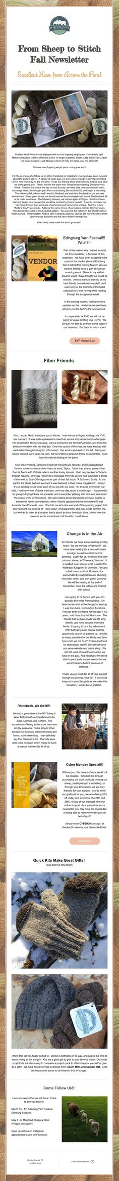 From Sheep to Stitch Fall Newsletter Excellent News from Across the Pond
