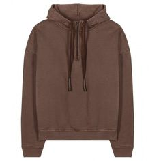 Yeezy Cotton Hoodie (Season 1) found on Polyvore featuring tops, hoodies, jackets, outerwear, shirts, brown, adidas originals hoodies, hooded sweatshirt, brown tops and cotton shirts