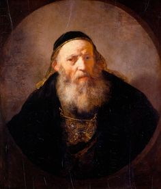 Rembrandt van Rijn, Portrait of a Rabbi, Royal Collection at Hampton Court Palace. Rembrandt Portrait, Rembrandt Paintings, List Of Paintings, Amsterdam, The Royal Collection, Dutch Golden Age, Dutch Painters, Jewish Art, True Art