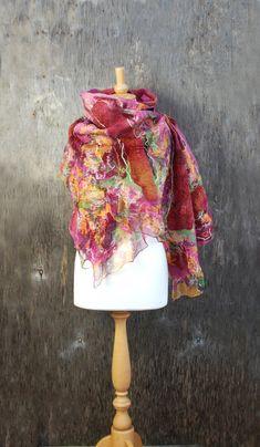 Felted scarf Nuno felted scarf Felt shawl merino wool chiffon silk pink orange…