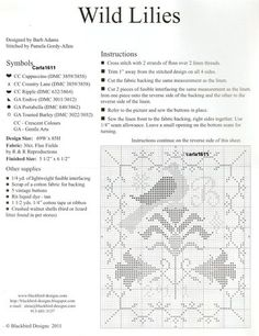 Wild Lilies Small Cushion • 2/4 Colour Key, Information and Small Chart [larger chart provided on following pin]