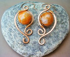 Wire Wrapped Earrings Copper and FireCrackle Agate by GearsFactory, €15.00