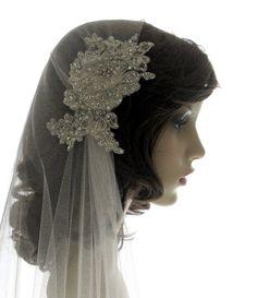 Couture bridal cap veil 1920s wedding  veil  by SarahMorganBridal, £165.00