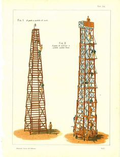 1900 Technical Drawing Scaffolding Towers by CarambasVintage, $16.00