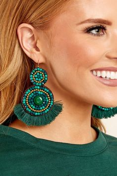 1 Second Chance Green Statement Earrings at reddressboutique.com
