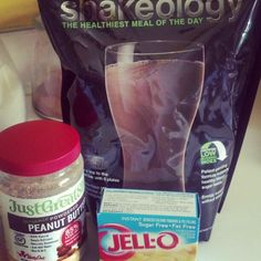 Lunch! One of my FAV Shakeology recipes!   -1/2 cup unsweet almond milk  -1-1.5 cup water  -1 scoop chocolate shakeology  -2 tbsp powdered peanut butter (only 45 calories! )  -2 tbsp sugar free fat free instant pudding mix (cheesecake, butterscotch, or banana cream depends on the day)  -LOTS of ice  -Blend well  SUPER YUMMY and HEALTHY