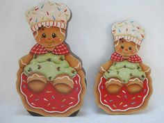 Gingerbread Cookie Baker Fridge Magnet and/or Shelf Sitter designed by Pamela House and painted by ByBrendasHand