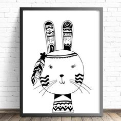 Monochrome Tribal Bunny Wall Art Print featuring feathers