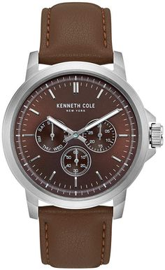 e1257046f74 Kenneth Cole New York Men s Multifunction Brown Leather Strap Watch 43mm  Reino Animal