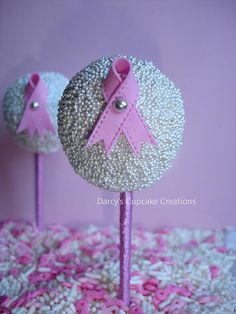 Breast Cancer, cake pops!