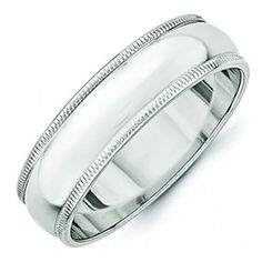 14K White Gold 6Mm Milgrain Wedding Band Ring by JewelryHub on Opensky