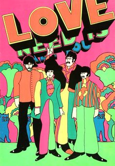 The Beatles - Yellow Submarine by Peter Max - for black light - 1969.