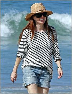 0a501d8732c Celebrities on Vacations Style . Julianne Moore in stripped long sleeve T. Plus  Size Inspiration
