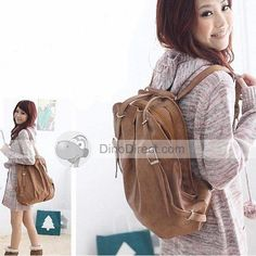 Women Buckle PU Travel Satchel Backpack
