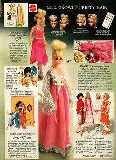 Growing Pretty Hair Barbie and Francie, Sears Christmas catalog 1971
