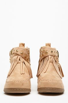 Autumn is right around the corner and we want your closet to be up to date with our hottest boots! This pair features a moccasin structure, gold accent detailing, adjustable buckle, fringe cut detailing, Camel faux suede material and a hidden size zipper. This pair looks absolutely perfect paired with skinny jeans and a matching faux leather jacket.  #cute #hot #fashion #weheartit #itsamusthave #fashion #style #pink #LOVEPINK #summer #stylish Only at www.cicihot.com