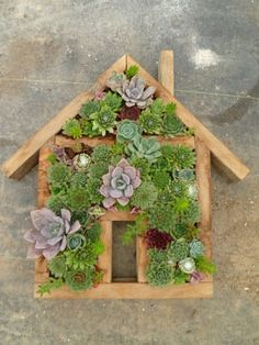 fun project.  Stuff with sphagnum moss, cover with chicken wire and plug in succulents.