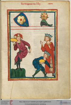 Die Burggrafen von Lienz waren Ministerialen der Grafen von Kärnten und Görz-Tirol; ihre Heimat ist das heutige Städtchen Lienz in Osttirol. Der Minnesänger, der beim sportlichen Spiel des Steinstoßens dargestellt ist, lebte in der ersten Hälfte des 13. Jahrhunderts und gehörte dem Kreis um Ulrich von Lichtenstein (Miniatur 77) an