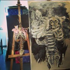 Year 13 Art Exam initial painting