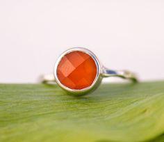 Carnelian  Ring Gemstone Ring  Silver Ring  Bezel Set by delezhen, $66.00